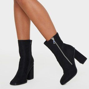 *NEW*Black Square Toe Chunky Block Heel Ankle Boot